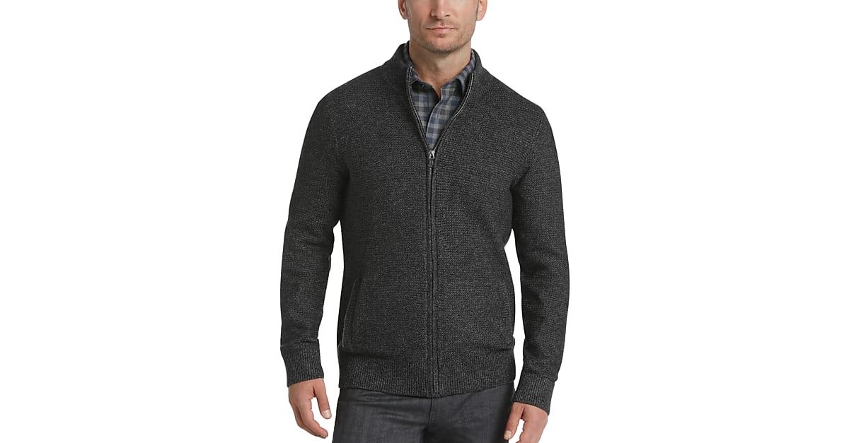 8e679522328 Joseph Abboud Black Full Zip Cardigan Sweater - Men s Sale