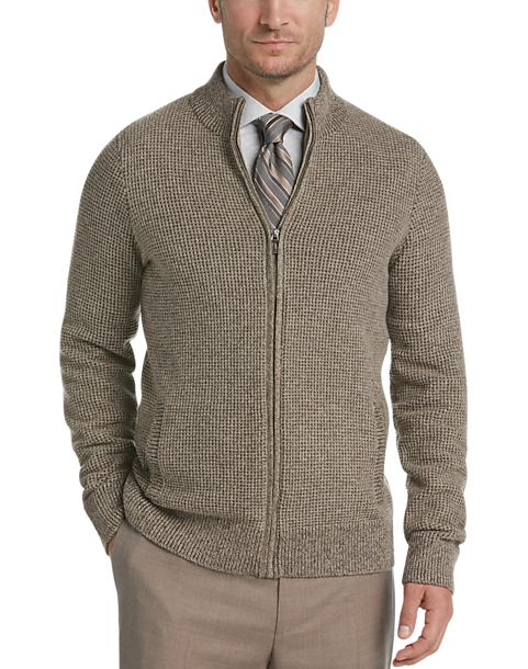 22844e5282084 Joseph Abboud Tan Full Zip Cardigan Sweater - Men s Sale