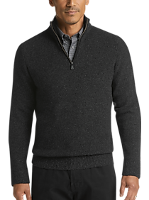 Joseph Abboud Limited Edition Black 1/4 Zip Mock Neck Cashmere Sweater