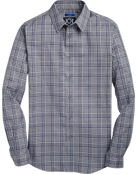 JOE Joseph Mans Abboud Gray & Blue Plaid Sport Shirt