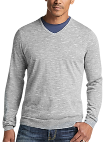Joseph Abboud Heathered Gray V-Neck Sweater.