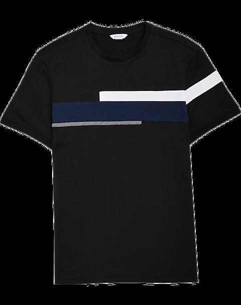 773888809 Calvin Klein Black, White & Blue Colorblock T-Shirt - Men's Slim Fit ...