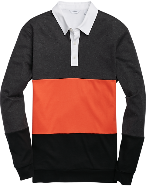 ddad3bcca95 Calvin Klein Charcoal   Orange Long Sleeve Polo Shirt - Men s Knits ...
