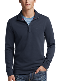 Mens Sweaters, Clearance - Calvin Klein Navy Blue 1/4 Zip Pullover - Men's