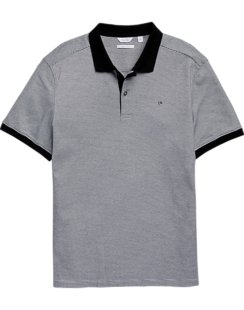 Calvin Klein Liquid Touch Black Stripe Polo Shirt
