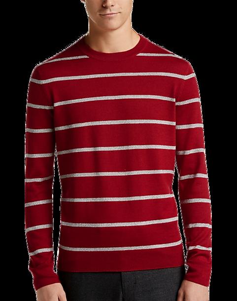 d82b305eb521 Calvin Klein Red   Maroon Stripe Crew Neck Sweater - Mens Home - Men s  Wearhouse