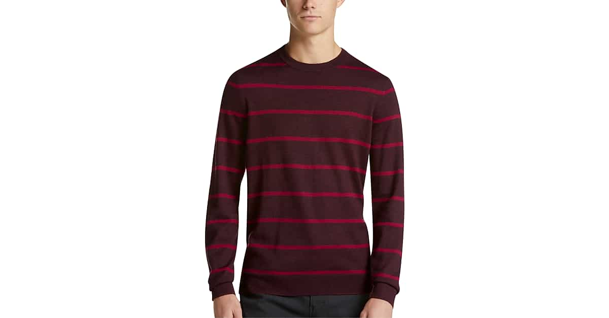 a48c67d02 Calvin Klein Red   Maroon Stripe Mock Neck Sweater - Men s Sale ...