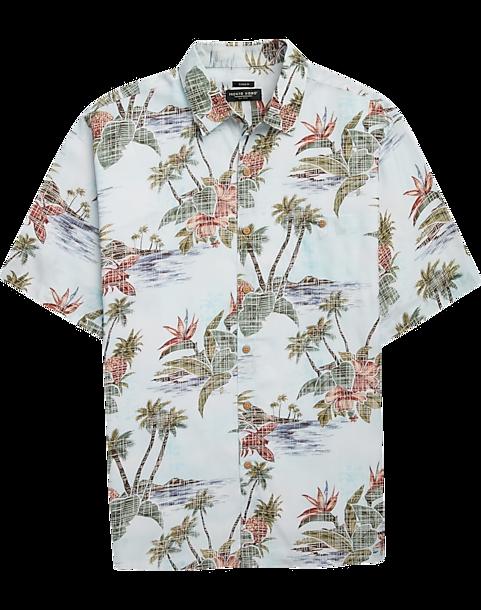 067ebe872 Pronto Uomo Light Blue Palm Tree & Pineapple Short Sleeve Sport ...