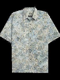 04177a57853903 Mens Casual Shirts, Shirts - Pronto Uomo Tan & Blue Leaves Tropical Print  Short Sleeve