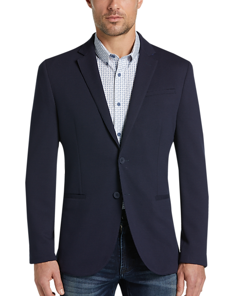 JOE Joseph Abboud Mens Textured Casual Coat (Navy)