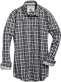Joseph Abboud Charcoal & White Check Modern Fit Sport Shirt (Charcoal)