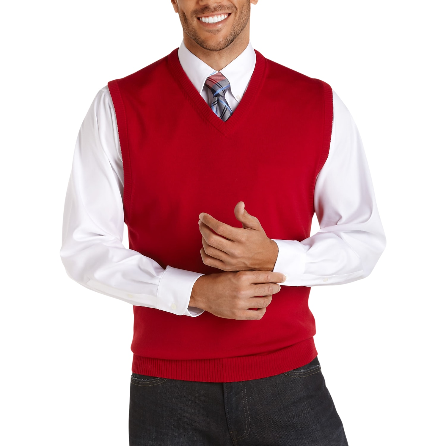 Pronto Uomo Red Merino Vest Sweater - Men's Sweater Vests | Men's ...