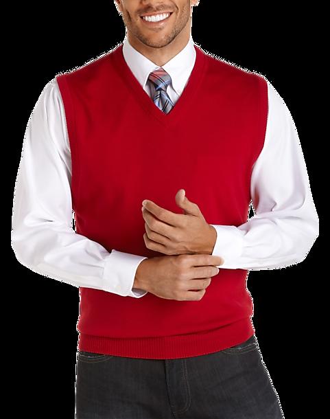 Pronto Uomo Red Merino Vest Sweater - Men's Sweater Vests | Men's ...