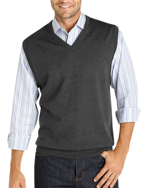 Pronto Uomo Charcoal Merino Vest Sweater - Men's Sweater Vests ...