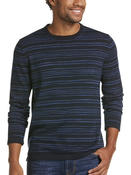JOE Joseph Abboud Navy Space Dye Stripe Slim Fit Sweater (Navy / Black)
