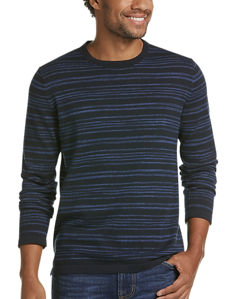JOE Joseph Abboud Navy Space Dye Stripe Slim Fit Mens Sweater