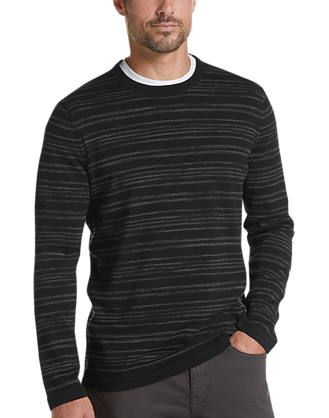 JOE Joseph Abboud Black Stripe Slim Fit Sweater (Black / Navy)