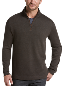 cfacb21d05 Joseph Abboud Brown 1/4 Zip Mock Neck Modern Fit Pullover