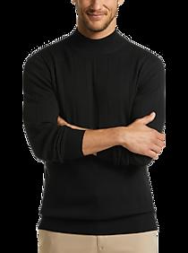 Joseph Abboud Black Merino Wool Modern Fit Mock Neck Sweater