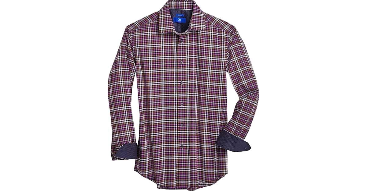 Polo Ralph Lauren gingham plaid checker shirt spread collar red orange purple 67