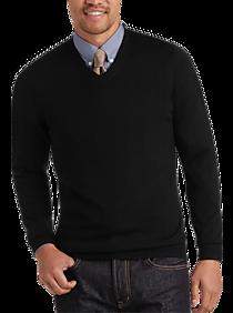 13dd61a1c42 Mens Home - Joseph Abboud Black V-Neck Merino Wool Sweater - Men s Wearhouse