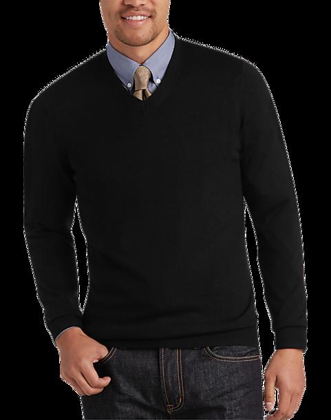 Joseph Abboud Black V Neck Merino Wool Sweater by Mens Wearhouse