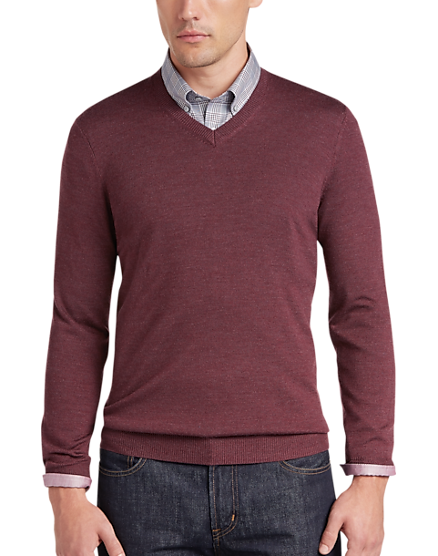 Joseph Abboud Rosewood V-Neck Merino Wool Sweater - Men's Sweaters ...