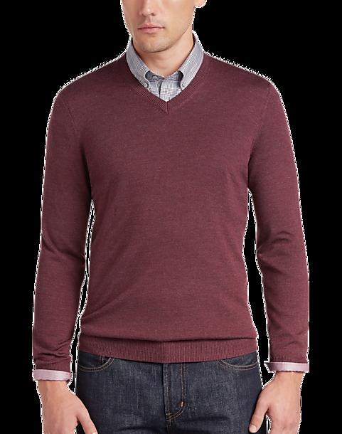 2646b8f839e4 Joseph Abboud Rosewood V-Neck Merino Wool Sweater - Men s Sale ...