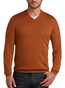 Joseph Abboud Orange V-Neck Merino Wool Sweater