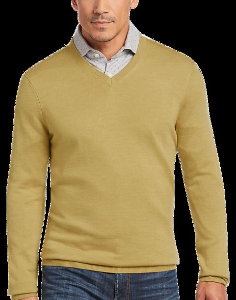06aee12e8d3e Joseph Abboud Mustard Modern Fit V-Neck Merino Wool Sweater - Men s ...
