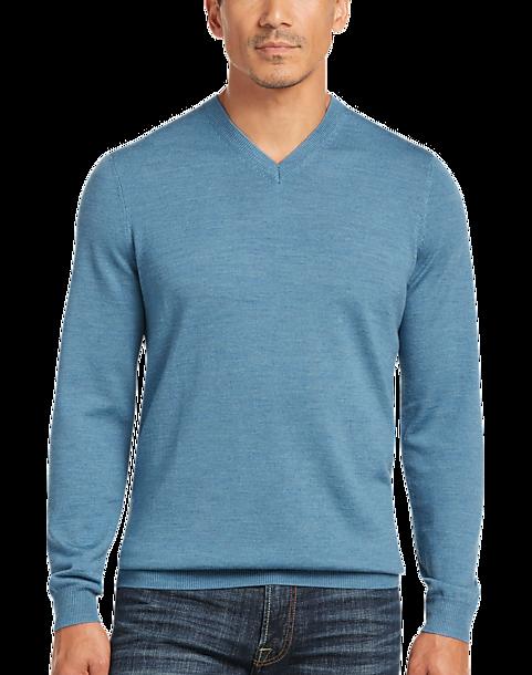 06a0bc49aa2c Joseph Abboud Persian Blue Modern Fit V-Neck Merino Wool Sweater ...