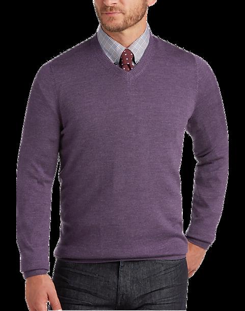 d8771efe9c47 Joseph Abboud Lavender V-Neck Merino Wool Sweater - Men s Sale ...