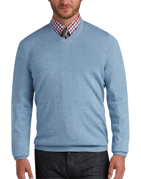 Joseph Abboud Light Blue V-Neck Merino Wool Sweater - Men's ...