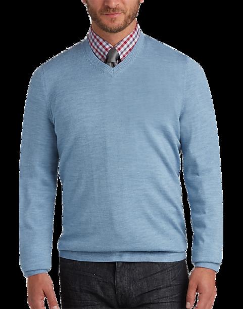 8d87ec519fae Joseph Abboud Light Blue V-Neck Merino Wool Sweater - Men s Sweaters ...