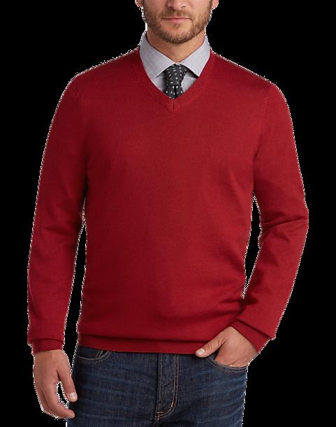 ecc0b26b0 Joseph Abboud Red Apple V-Neck Merino Wool Sweater - Men s Sweaters ...
