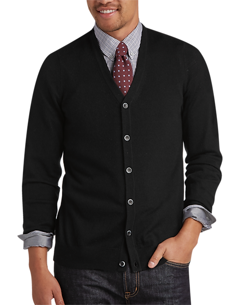 Joseph Abboud Black Merino Cardigan Sweater - Men's Cardigans ...