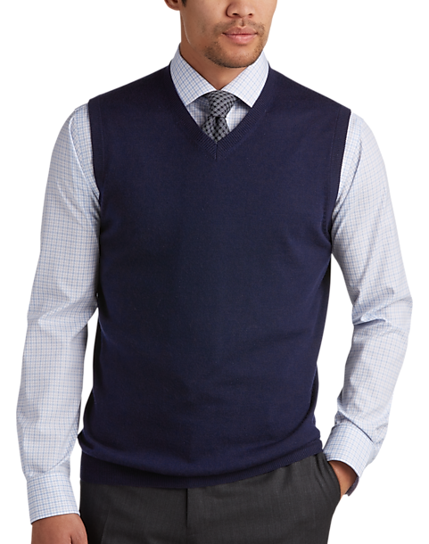 Joseph Abboud Navy V-Neck Modern Fit Sweater Vest - Men's Sweater ...