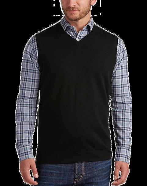 Joseph Abboud Black V-Neck Modern Fit Sweater Vest - Men's Sweater ...