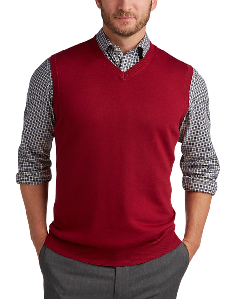 Joseph Abboud Red V-Neck Modern Fit Sweater Vest - Men's Sweater ...