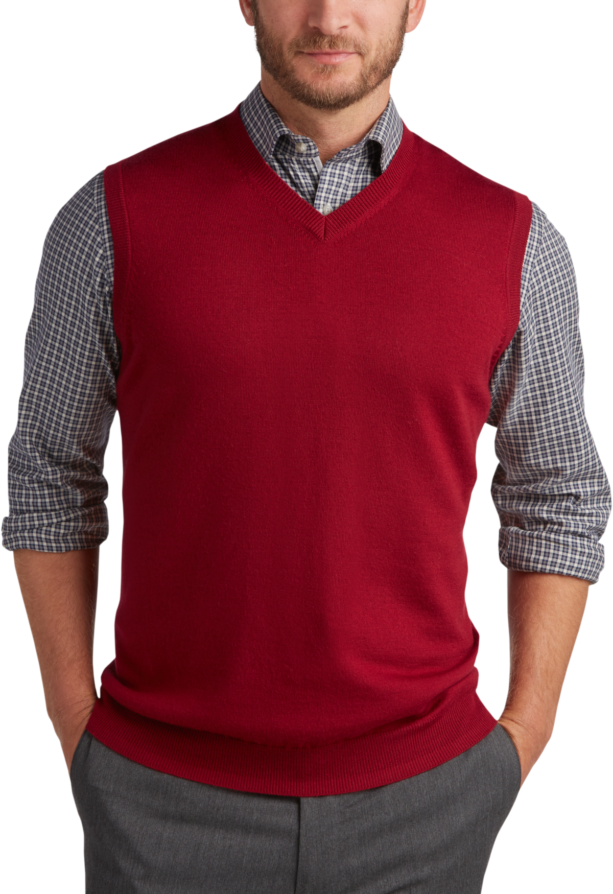 Joseph Abboud Red V-Neck Modern Fit Sweater Vest - Men's | Men's ...