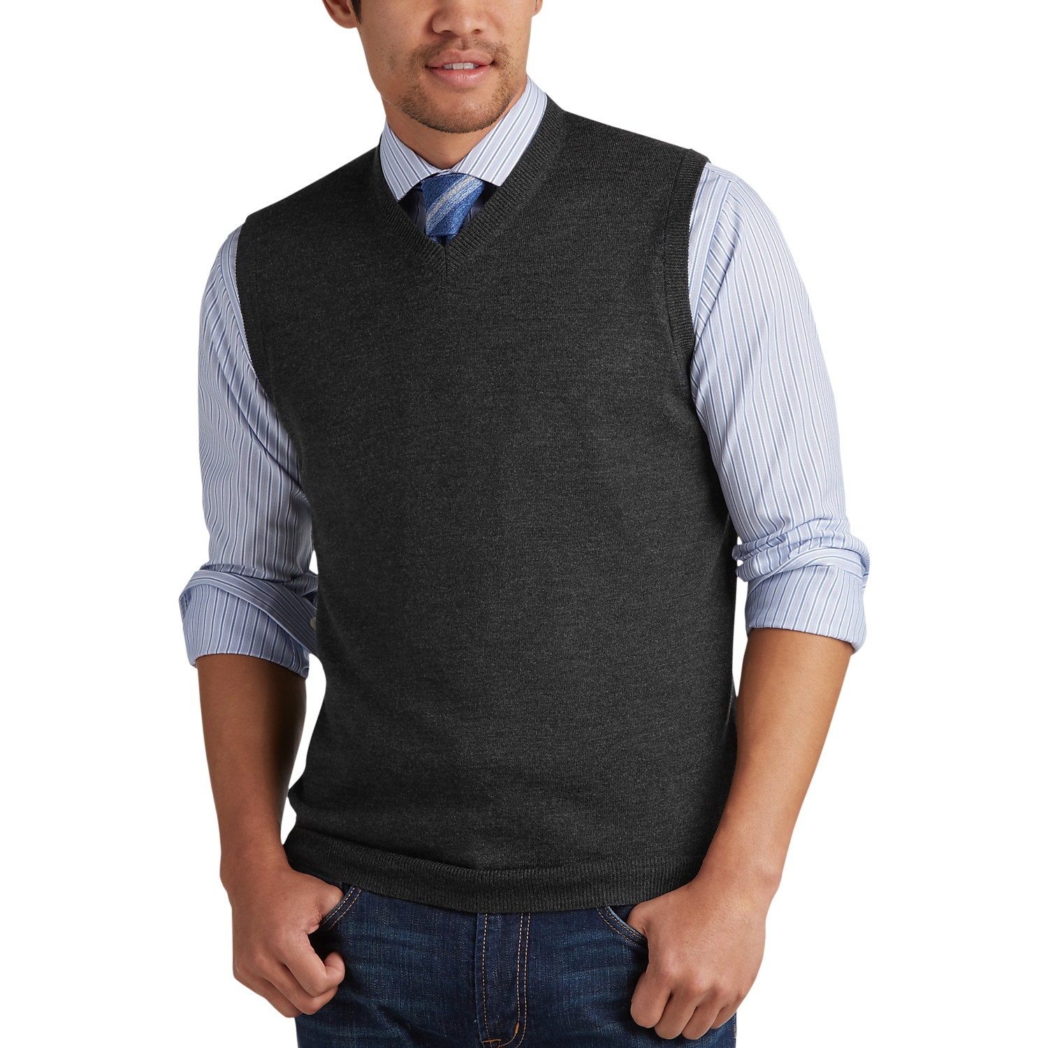 Joseph Abboud Charcoal V-Neck Modern Fit Sweater Vest - Men's ...