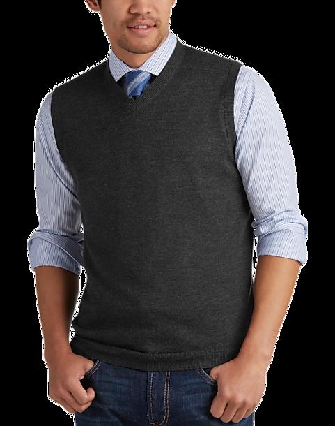 Joseph Abboud Charcoal V-Neck Modern Fit Sweater Vest - Men's ...