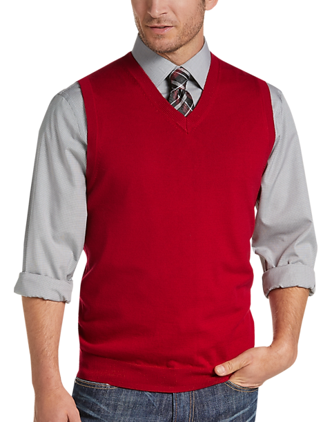 60099eba3f02 Joseph Abboud Red V-Neck Modern Fit Sweater Vest - Men s Sweaters ...