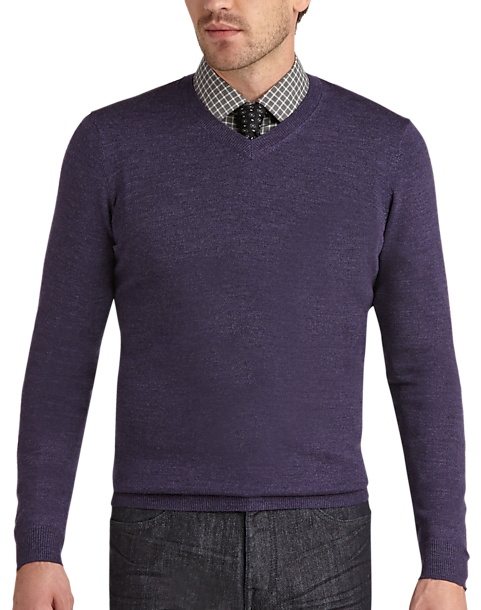 Joseph Abboud Purple V-Neck Merino Sweater - Men's | Men's Wearhouse