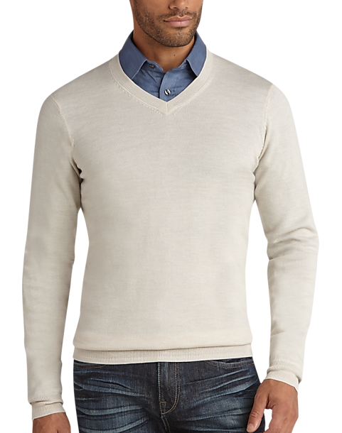 d9793a2ce989 Joseph Abboud Ivory V-Neck Merino Sweater - Men s Big   Tall