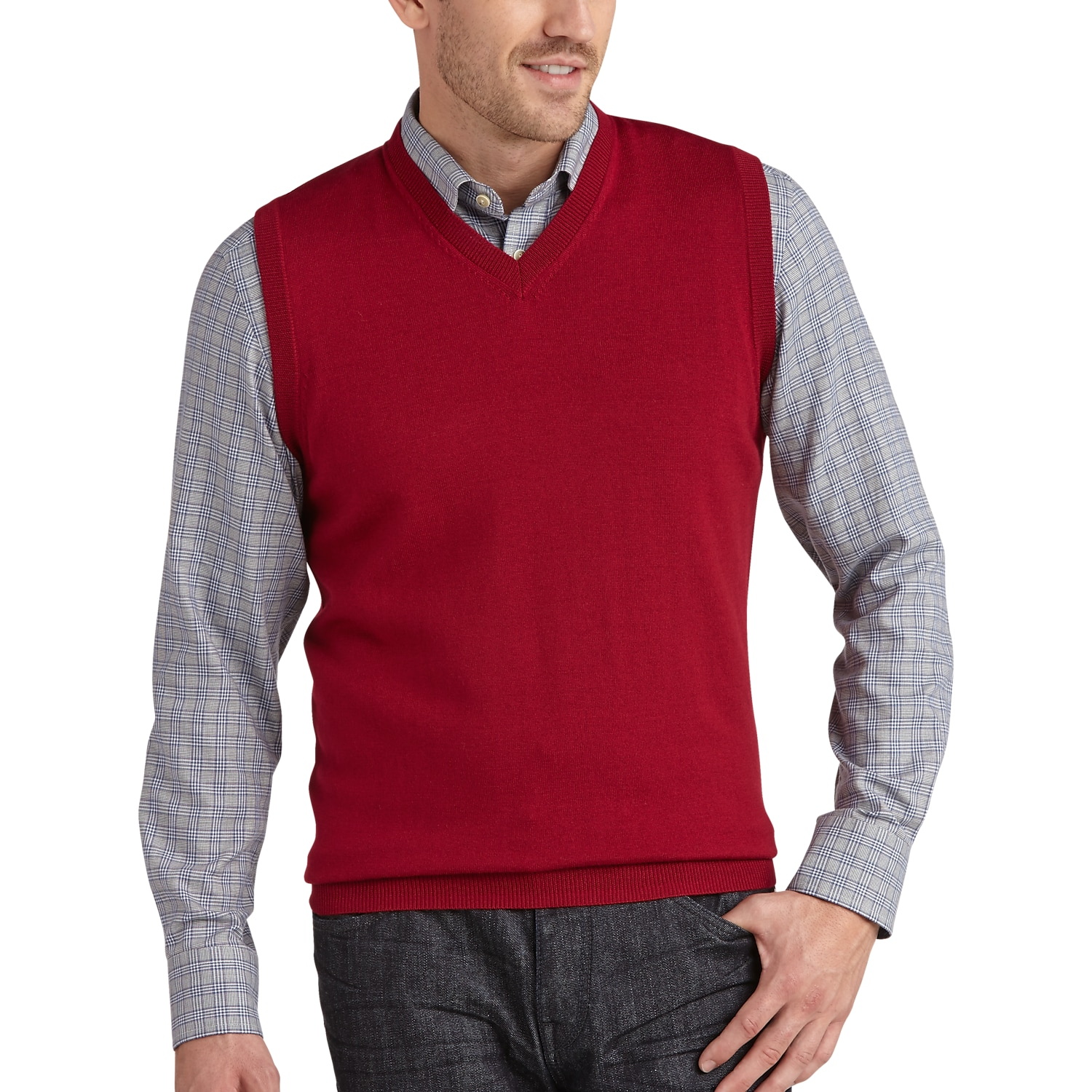 Joseph Abboud Red Merino Vest - Men's Sweater Vests | Men's Wearhouse