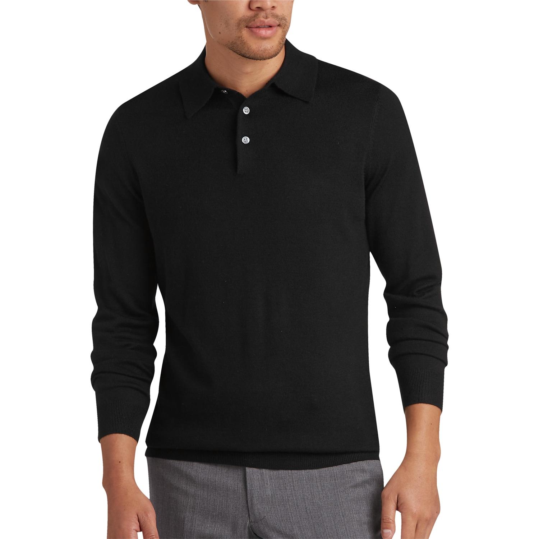 f12bbcf98 Mens Home - Joseph Abboud Black Polo Collar Merino Wool Sweater - Men s  Wearhouse