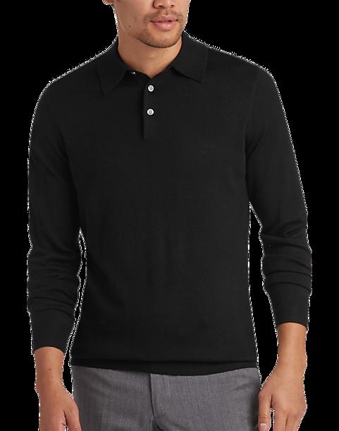 Joseph abboud black polo collar merino wool sweater men for Mens sweater collared shirt