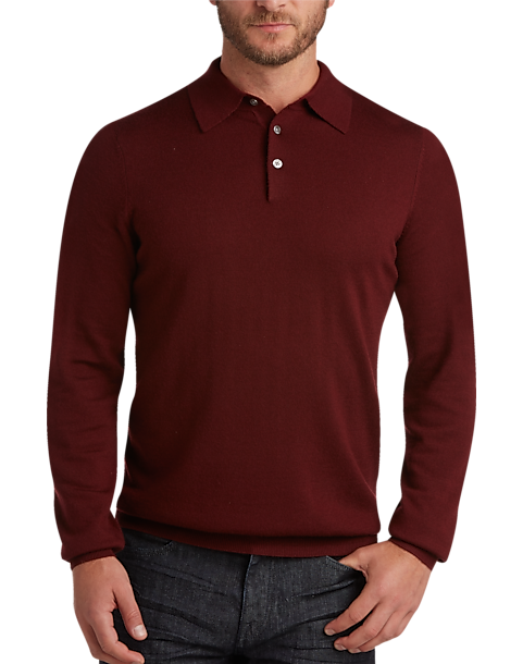 Joseph Abboud Burgundy Polo Collar Merino Wool Sweater - Men's ...
