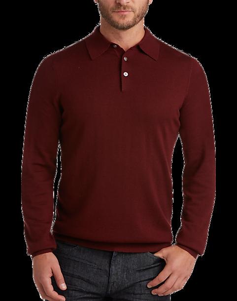 91c09d6c6bcbf5 Joseph Abboud Burgundy Polo Collar Merino Wool Sweater - Men s Sale ...